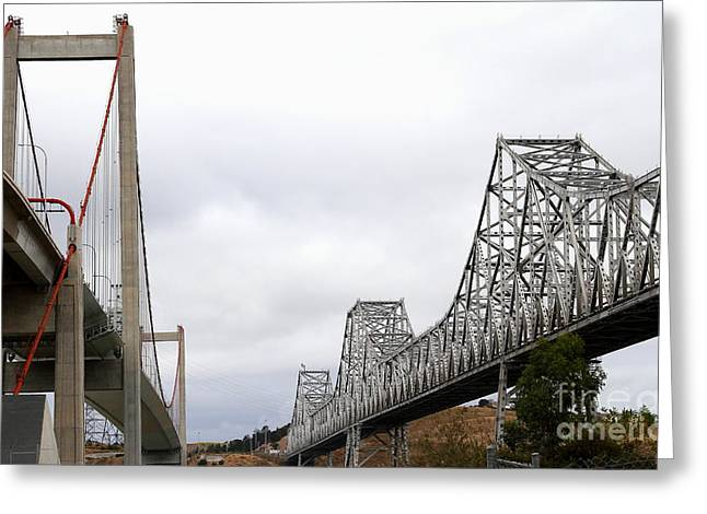 Pablo Greeting Cards - The New Alfred Zampa Memorial Bridge and The Old Carquinez Bridge . 7D8830 Greeting Card by Wingsdomain Art and Photography