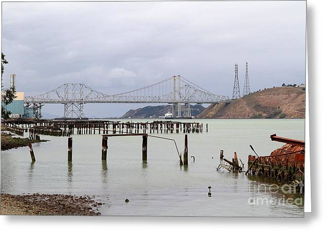 The New Alfred Zampa Memorial Bridge And The Old Carquinez Bridge . 7d8875 Greeting Card by Wingsdomain Art and Photography