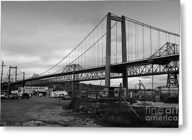 The New Alfred Zampa Memorial Bridge And The Old Carquinez Bridge . Black And White . 7d8828 Greeting Card by Wingsdomain Art and Photography