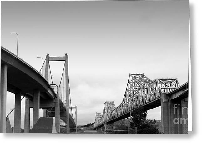 Pablo Greeting Cards - The New Alfred Zampa Memorial Bridge and The Old Carquinez Bridge . Black and White . 7D8829 Greeting Card by Wingsdomain Art and Photography