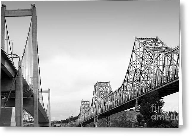 Pablo Greeting Cards - The New Alfred Zampa Memorial Bridge and The Old Carquinez Bridge . Black and White . 7D8830 Greeting Card by Wingsdomain Art and Photography