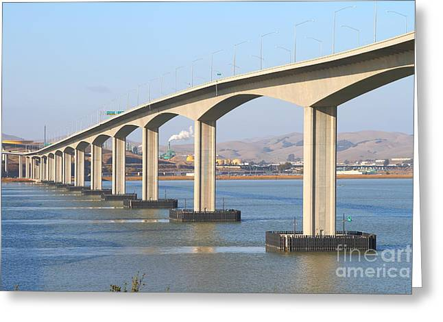 Bay Bridge Greeting Cards - The New Benicia-Martinez Bridge Across The Carquinez Strait in California . 7D10434 Greeting Card by Wingsdomain Art and Photography