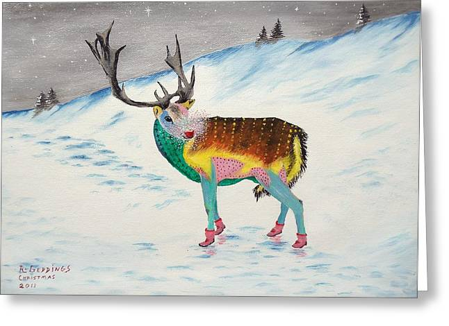 Rudolph Mixed Media Greeting Cards - The New Rudolph Greeting Card by Riley Geddings