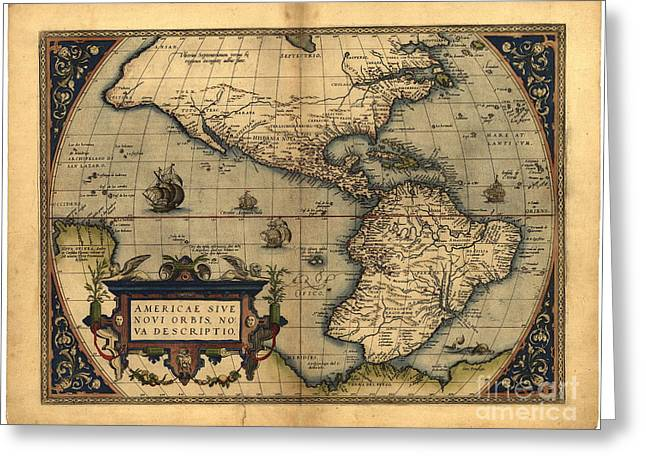 South Congress Greeting Cards - The New World, 16th Century Greeting Card by Science Source