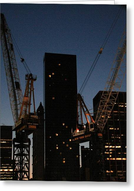 Tower Crane Greeting Cards - The New World Trade Center with Millennium Hotel Greeting Card by Christopher Kirby