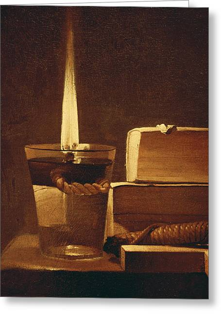 Madeleine Greeting Cards - The Night Light Greeting Card by Georges de la Tour