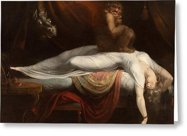 Red Dress Greeting Cards - The Nightmare Greeting Card by Henry Fuseli