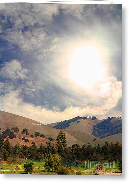 Eastbay Greeting Cards - The Niles Sign in The Hills of Niles California . 7D12707 Greeting Card by Wingsdomain Art and Photography