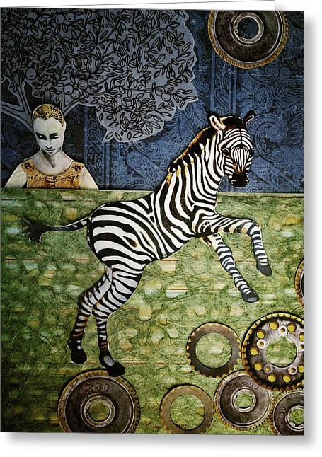 Cog Mixed Media Greeting Cards - The Nobility of the Zebra Greeting Card by Jeanne Hollington