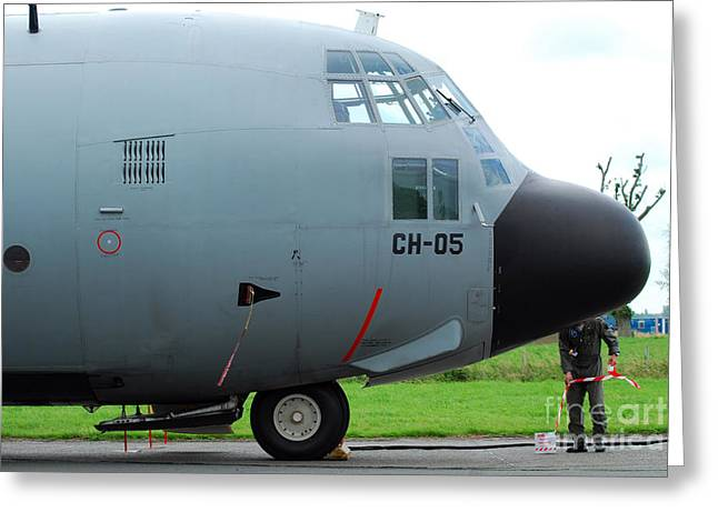 Plane Nose Greeting Cards - The Nose Of A Hercules C-130 Airplane Greeting Card by Luc De Jaeger