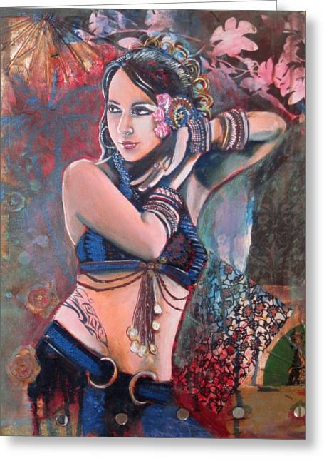 Tribal Belly Dance Greeting Cards - The Nouveau Gypsy Greeting Card by Stephanie Bolton