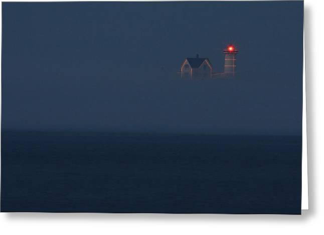 Maine Lighthouses Greeting Cards - The Nubble at Night Greeting Card by Lori Deiter