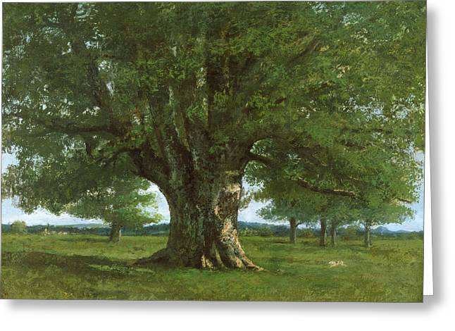 Gustave (1819-77) Greeting Cards - The Oak of Flagey Greeting Card by Gustave Courbet