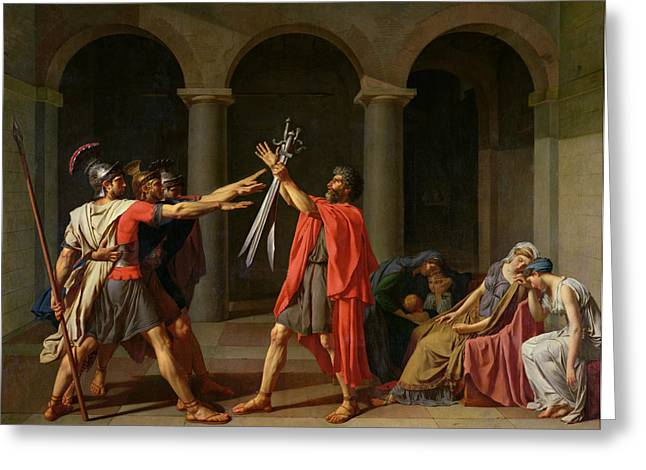 Jacques Louis (1748-1825) Paintings Greeting Cards - The Oath of Horatii Greeting Card by Jacques Louis David