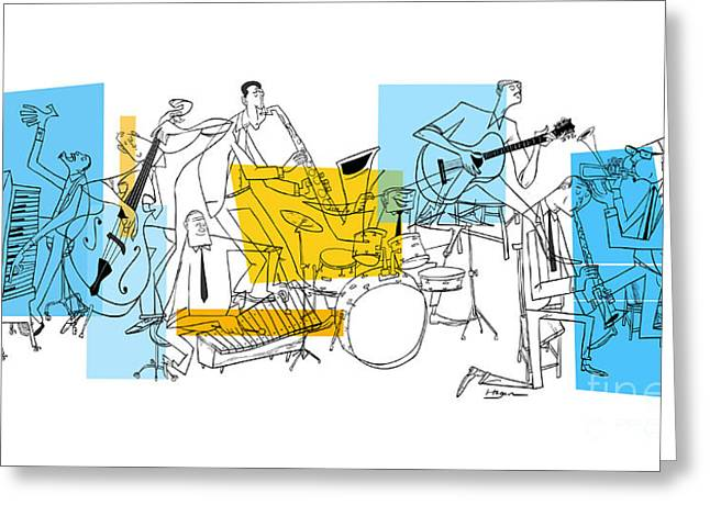 Bass Musician Greeting Cards - The Octet Greeting Card by Sean Hagan