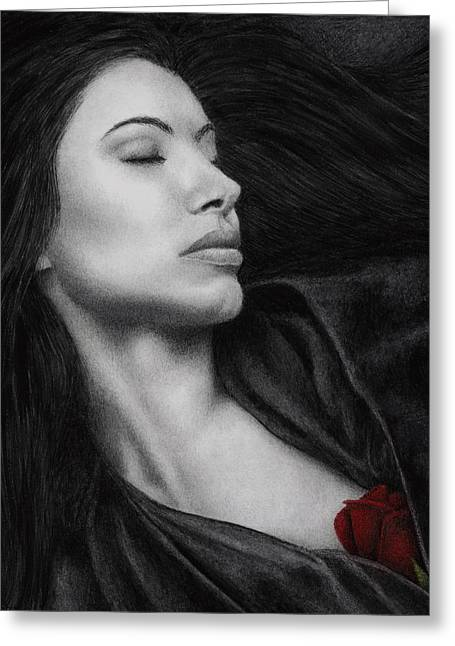 Women With Roses Greeting Cards - The Offering Greeting Card by Pat Erickson