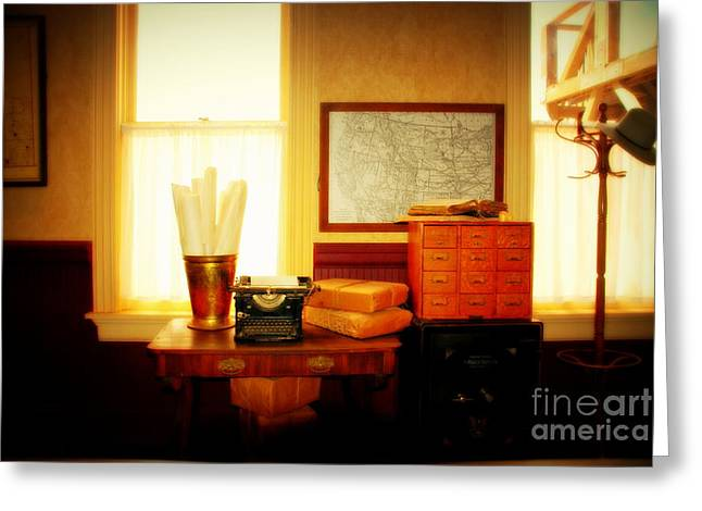 Typewriter Greeting Cards - The Office Old Tuscon Arizona Greeting Card by Susanne Van Hulst