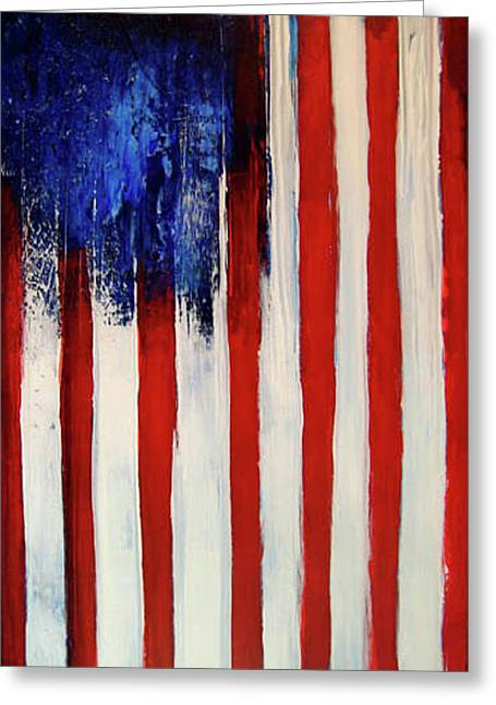 4th July Mixed Media Greeting Cards - The Ogden Flag Greeting Card by Charles Jos Biviano