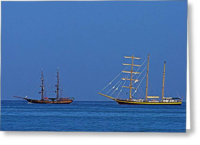 Pirate Ship Greeting Cards - The Old and The New-St Lucia Greeting Card by Chester Williams