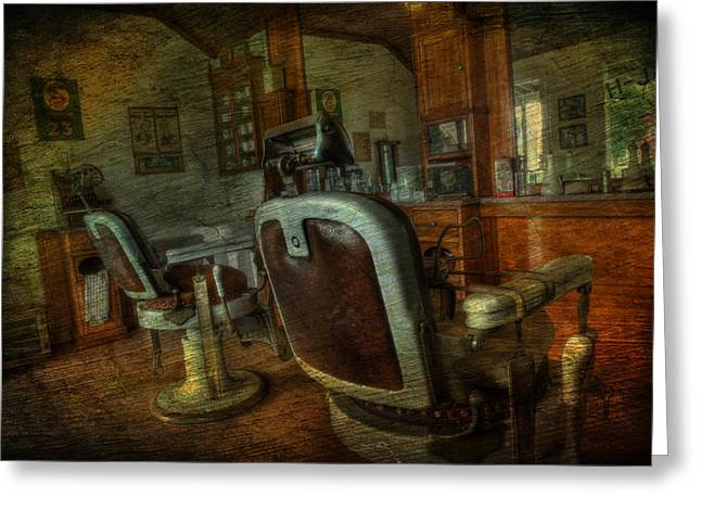 Historical Pictures Greeting Cards - The Old Barbershop - vintage - nostalgia Greeting Card by Lee Dos Santos