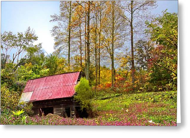 The Old Barn at Grandpas Farm Greeting Card by Debra and Dave Vanderlaan