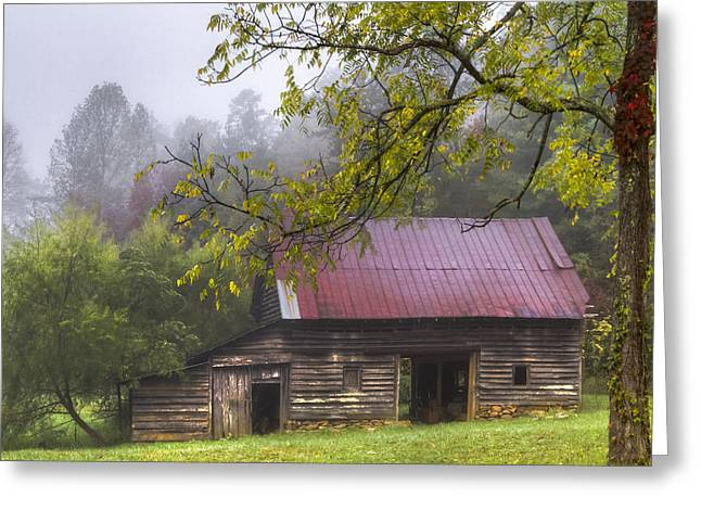 Red Roofed Barn Greeting Cards - The Old Barn Greeting Card by Debra and Dave Vanderlaan