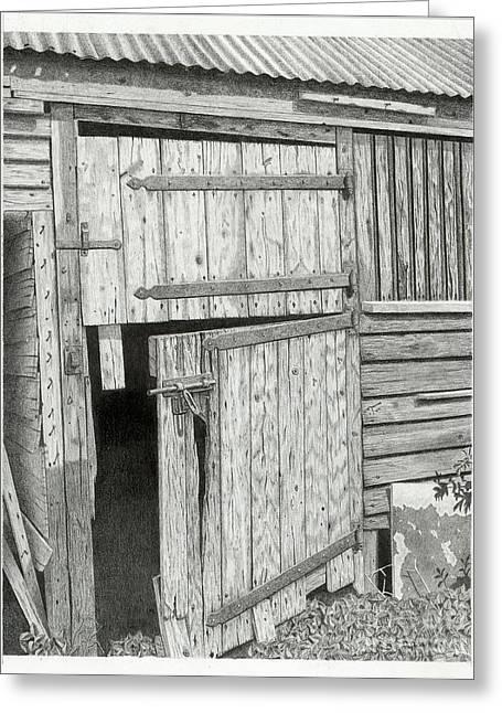 Barn Door Drawings Greeting Cards - The Old Barn Door Greeting Card by Denny Adams