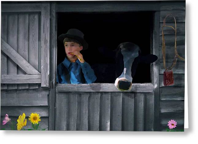 Cow Boy Greeting Cards - The Old Bell Cow Greeting Card by David Dehner