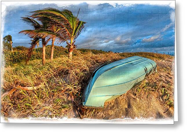 Hobe Sound Greeting Cards - The Old Blue Boat Greeting Card by Debra and Dave Vanderlaan