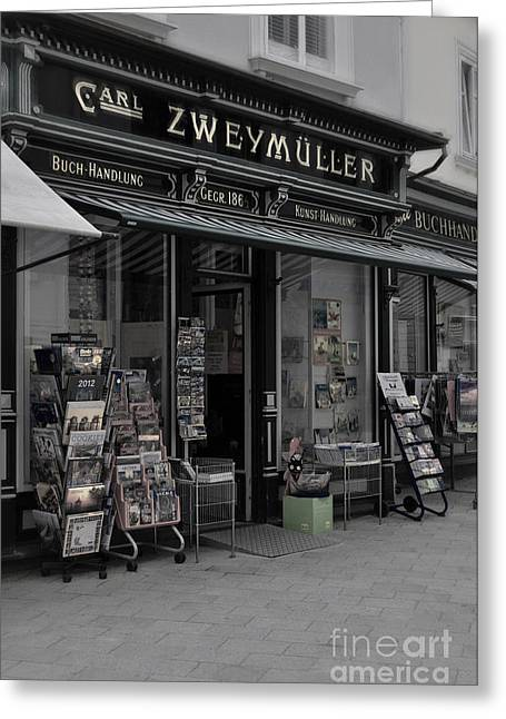 Bookstore Greeting Cards - The Old Bookstore Greeting Card by Mary Machare