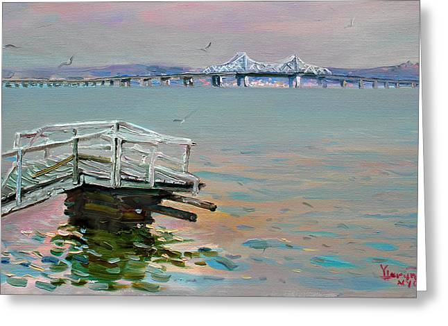Deck Greeting Cards - The Old Deck and Tappan Zee Bridge Greeting Card by Ylli Haruni