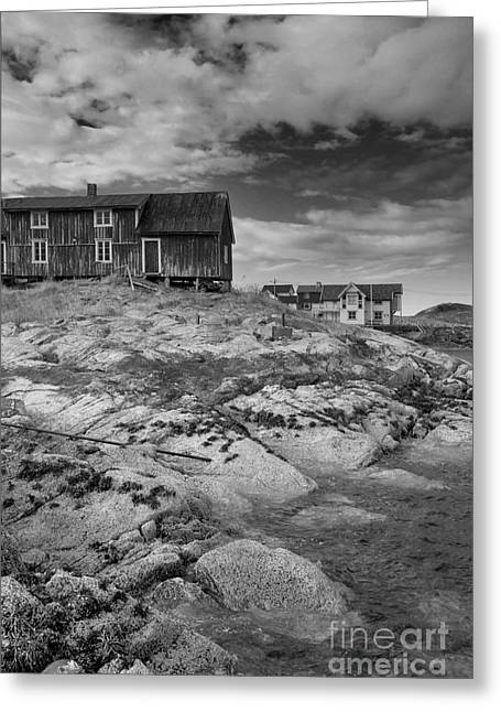 Norway Village Greeting Cards - The Old Fishermans Hut bw Greeting Card by Heiko Koehrer-Wagner