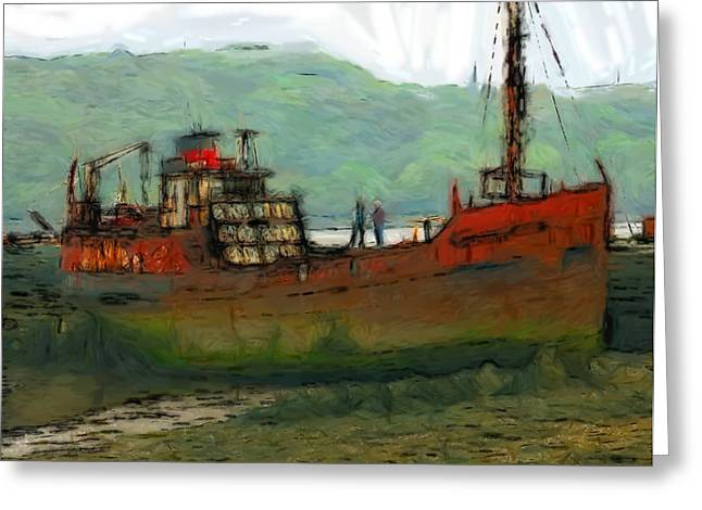 North Sea Greeting Cards - The old fishing trawler Greeting Card by Stefan Kuhn