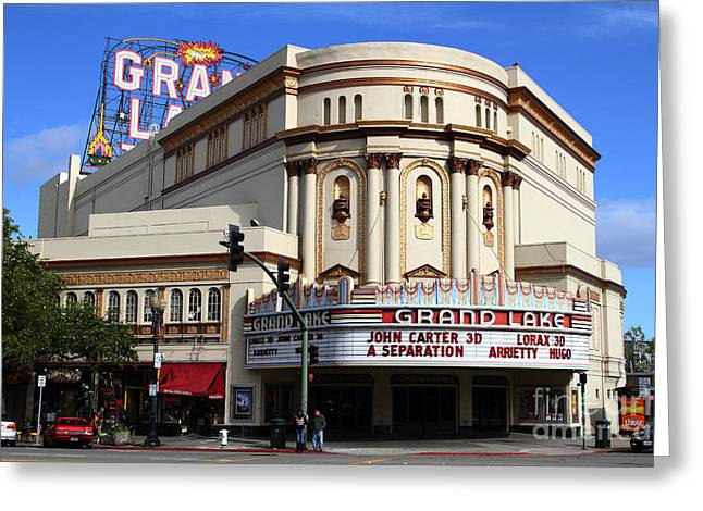Nostalgic Sign Greeting Cards - The Old Grand Lake Theatre . Oakland California . 7D13474 Greeting Card by Wingsdomain Art and Photography