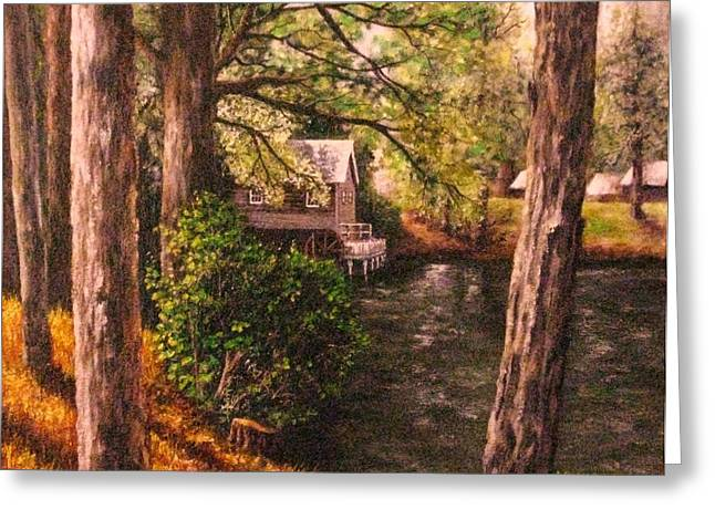 The Old Grist Mill Greeting Card by Laurie Golden