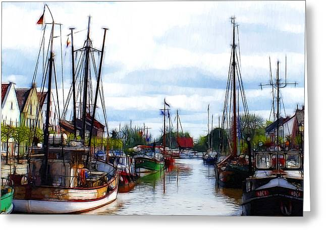 The Old Harbor Greeting Card by Steve K