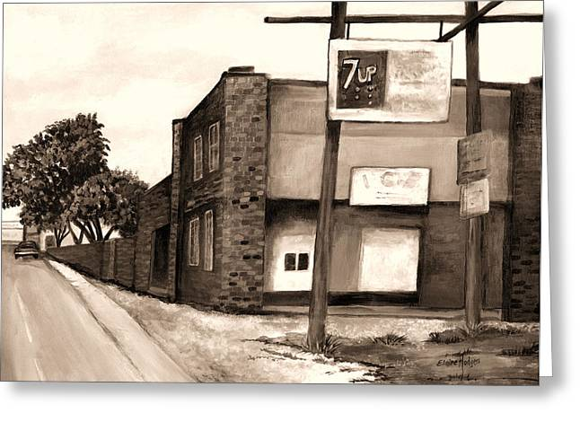 Seven-up Sign Greeting Cards - The Old Ice House in Sepia Greeting Card by Elaine Hodges