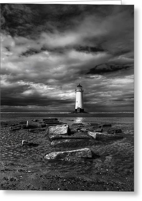 Black And White Hdr Greeting Cards - The Old Lighthouse  Greeting Card by Adrian Evans