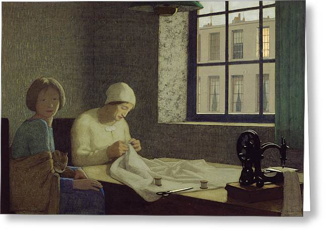 Dressmaker Greeting Cards - The Old Nurse Greeting Card by Frederick Cayley Robinson