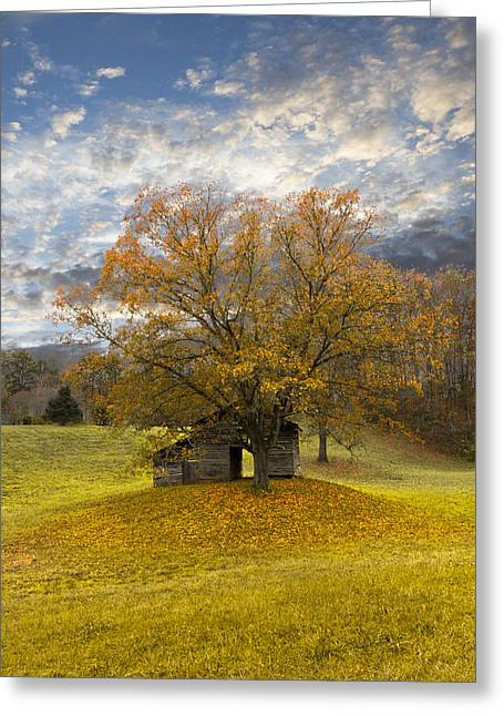 Old Cabins Greeting Cards - The Old Oak Tree Greeting Card by Debra and Dave Vanderlaan