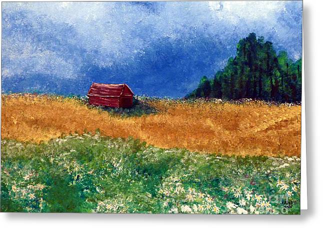 Indiana Flowers Paintings Greeting Cards - The Old Red Barn Greeting Card by Alys Caviness-Gober