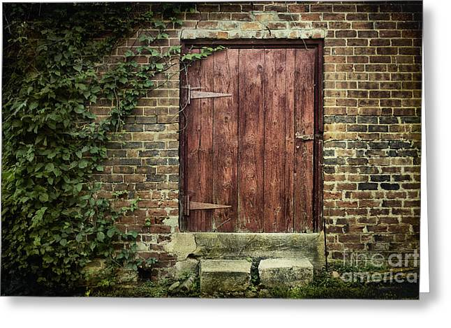 Outbuildings Greeting Cards - The Old Red Door Greeting Card by Sari Sauls