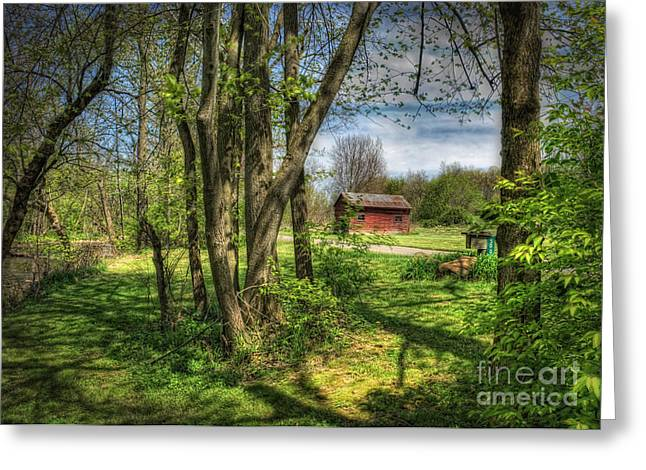 Old Country Roads Greeting Cards - The Old River Shed Greeting Card by Pamela Baker