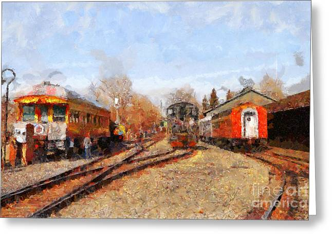 The Old Sacramento Central Train Depot . 7d11513 Greeting Card by Wingsdomain Art and Photography