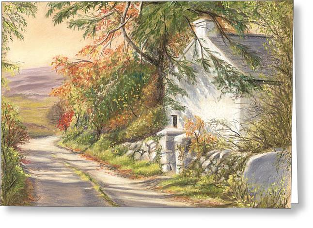 Old School Houses Paintings Greeting Cards - The Old School House Galway Greeting Card by Irish Art