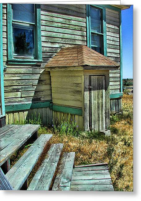 Wooden Building Greeting Cards - The Old Schoolhouse Greeting Card by Bonnie Bruno