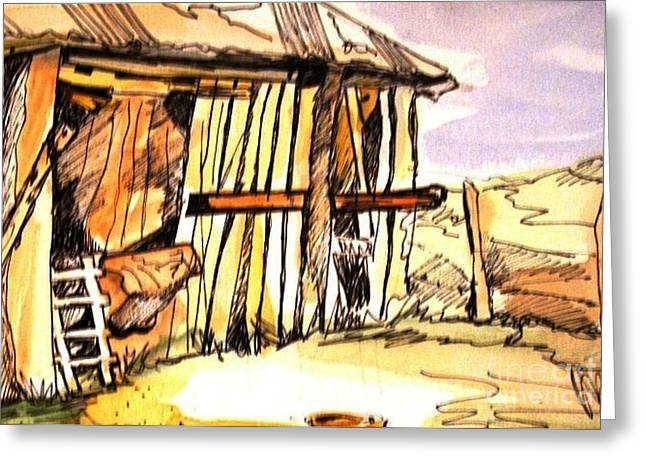 Shed Paintings Greeting Cards - The Old Shed Greeting Card by Therese Alcorn