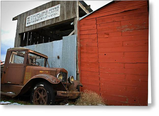 1949 Plymouth Greeting Cards - The Old Shop Truck Greeting Card by Steve McKinzie
