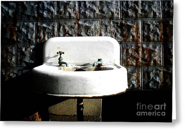 Working Conditions Greeting Cards - The Old Sink Out Back Greeting Card by Vonicia Verton
