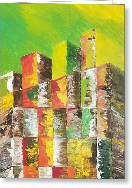 Impressionism Reliefs Greeting Cards - The Old Stack Of Wood Greeting Card by Roy Penny